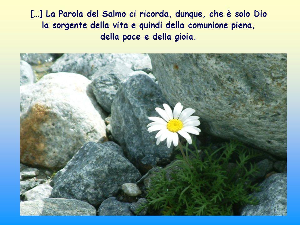 […] La Parola del Salmo ci ricorda, dunque, che è solo Dio la sorgente della vita e quindi della comunione piena, della pace e della gioia.